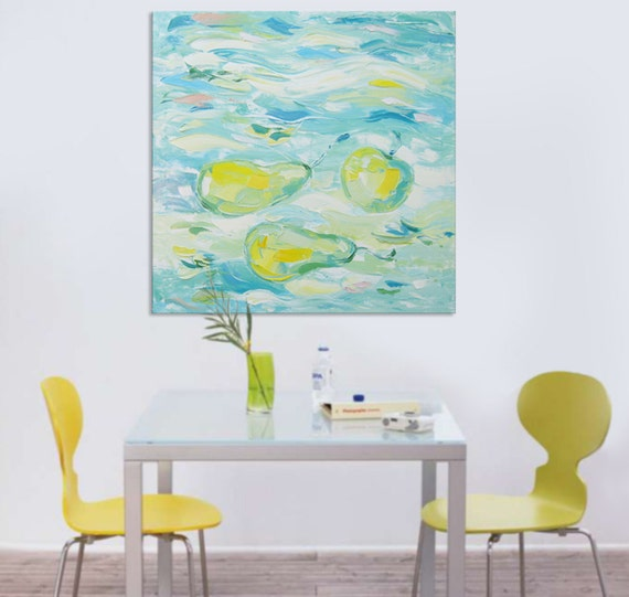 RESERVED Fruit morning - FREE SHIPPING - Large Original Oil Painting Canvas Palette Knife - ready to hang  impasto painting