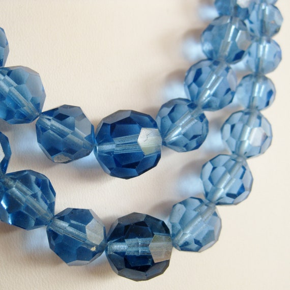 Vintage 50s Sapphire Blue Glass Graduated Bead Double Strand Crystal Necklace