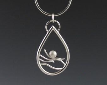 "Sterling Silver Teardrop Pendant on Chain, ""Tidal Teadrop Pendant"""