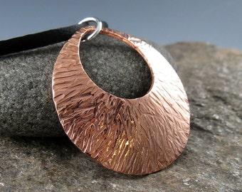 Round Textured Copper Pendant on Satin Cord