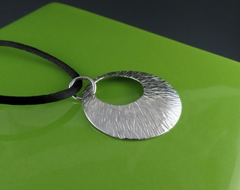 Large Round Textured Silver Pendant on Satin Cord