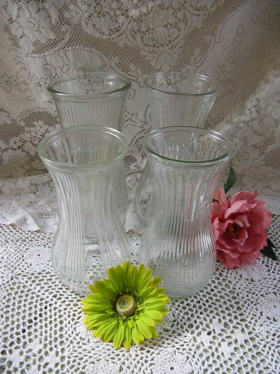 Clear Glass Flower Vase Collection 4 Large Vases For Weddings