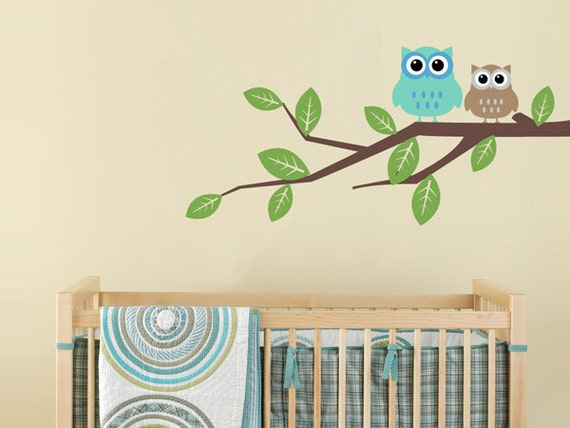 Children's Wall Decal - Owls on a Branch