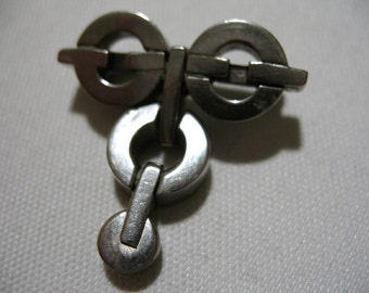 Vintage Silver Tone / Chrome Metal Articulated Abstract Brooch