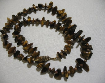 Vintage Polished Tiger-Eye Beaded Necklace with Brass Spacers