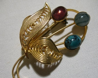 Vintage Gold Tone Brooch with Glass Cabochons