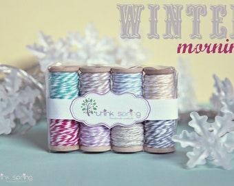 Bakers Twine on Wooden Spool - set of 8 - Winter Morning