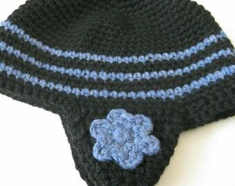 Ear Flap Beanie-Crocheted-Black and Blue with Flower - Crocheted Ear Flap Flower Beanie - Crochet Earflap Hat - Womens Earflap Beanie