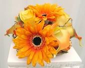 Wedding cake topper orange yellow Flower Cake decoration