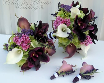 4 piece Wedding bouquet set, Bride bouquet, Bridesmaid bouquet, Boutonnieres ~ Plum and White Wedding flowers