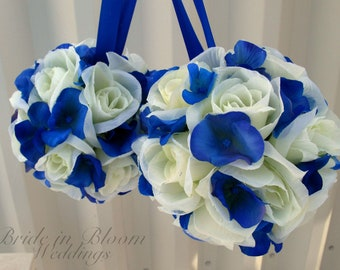 Wedding pomanders White Royal blue Wedding flower balls Flower girl Kissing ball Ceremony decorations