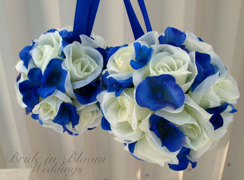 Royal Blue Silver And White Wedding Bouquets : Wedding pomanders white royal blue flower balls