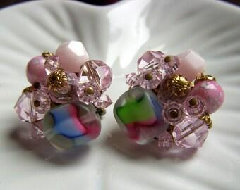 Pink and Blue Bead Earrings - Western Germany