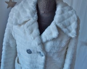 Snow White Coat Plush Faux Fur Double Breasted Belted 60's Coat Quilted Lining Lucite Buckle