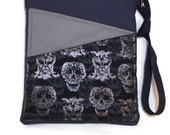 SALE Scull owl bag crossbody black gray blue fabric medium Travel Purse ipad long strap tablet