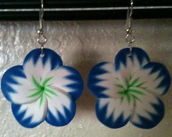 Blue Poly Clay Flower Earrings