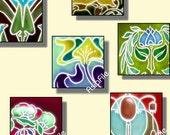 Printable 1 Inch Squares Digital Art, Scrapbook Elements, Pendants, Embellishments Altered Vintage Antique Nouveau Designs CS 197