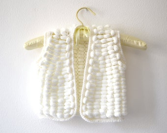 Vest white pompom for children 2 - 3 years