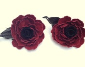 "Red and Black Rose Flowers Suede Shoe Clips 3.5"" Custom Order"