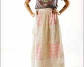 RESERVED Bitsy Floral, Gingham, and Lace Patchwork Hippie Skirt--M