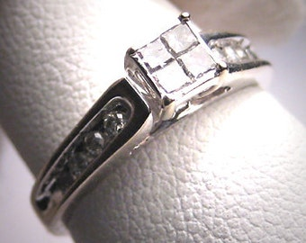 Vintage Diamond Wedding Ring White Gold Engagement Band