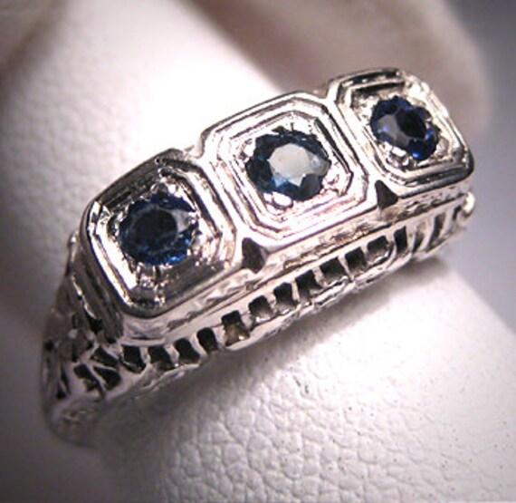 Antique Ceylon Sapphire Wedding Ring Vintage Art Deco