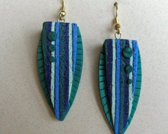 Striped Shield Art Earrings Polymer Clay in Purple, Green & White