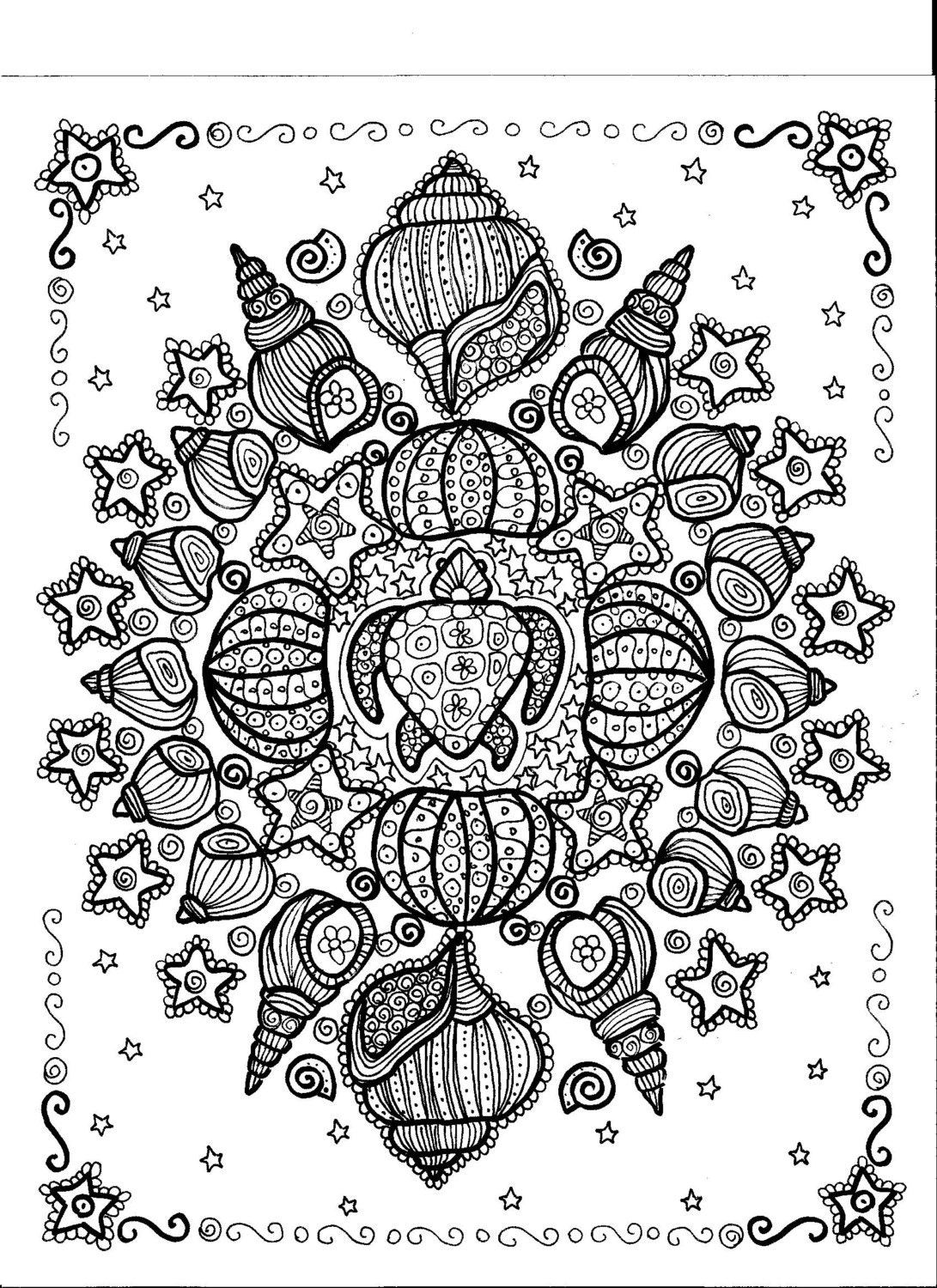Instant download turtle shell mandala you be the artist for Shells coloring page