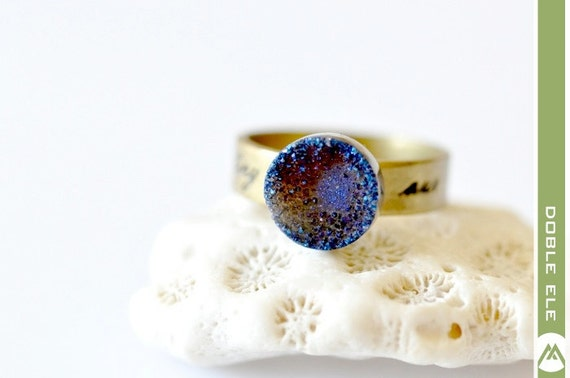 Reserved for Heather - OOAK Purple Blue Titanium Druzy Ring -09-