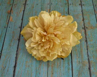 Silk Flowers - One Large Golden Yellow Peony - 5 Inches - Artificial Flowers
