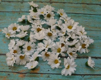 Silk Flowers - 50 Small Artificial Daisies in White - BUDGET Artificial Flowers