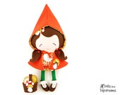 Little Red Riding Hood Doll Sewing Pattern PDF -  Reversible Cape, Felt Basket ,Cookies, Removable Boots included