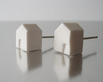 Tiny polymer clay white houses post earrings