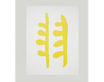 Simple abstract, bold yellow Matisse inspired modern art by Emma Lawrenson