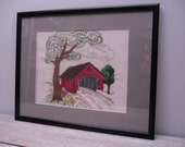vintage embroidered picture /  covered bridge scene / retro wall hanging