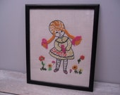 little girl embroidery / framed embroidered picture