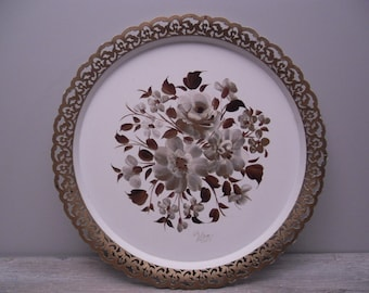 round handpainted metal tole tray
