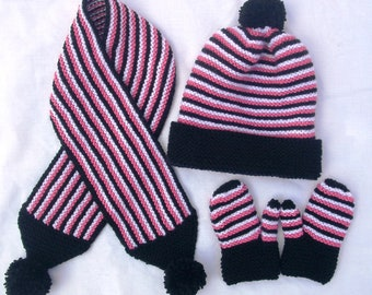 Baby/toddler hat, scarf and mittens set, hand knitted