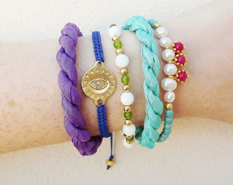 Instant Stacking Bracelet 5 Piece Set - Lucky Evil Eye, Silk, Charm, Turquoise, Neon Pink Jade, Lime Green, Purple, Pearls  - Christmas