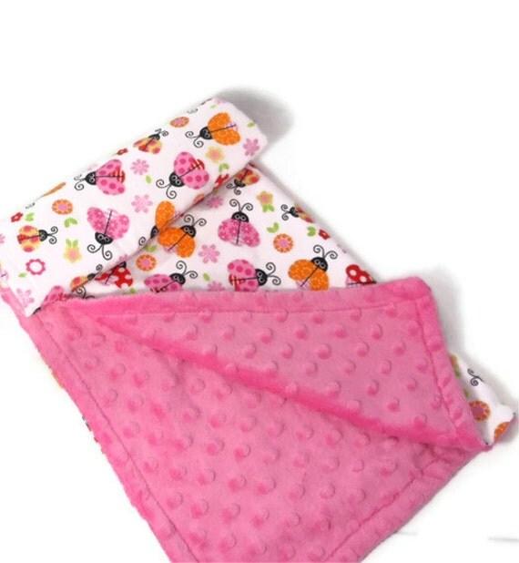Car Seat Blanket, reversible, Flannel & Minky, Ladybugs