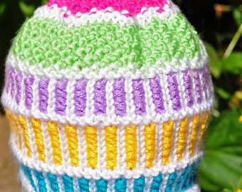 Handmade Handknit Child's Hat Carousel Colors White Pink Purple Lime Green Blue and Yellow