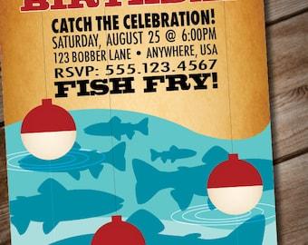 DIY Printable Retro Fishing Birthday Party Invitation