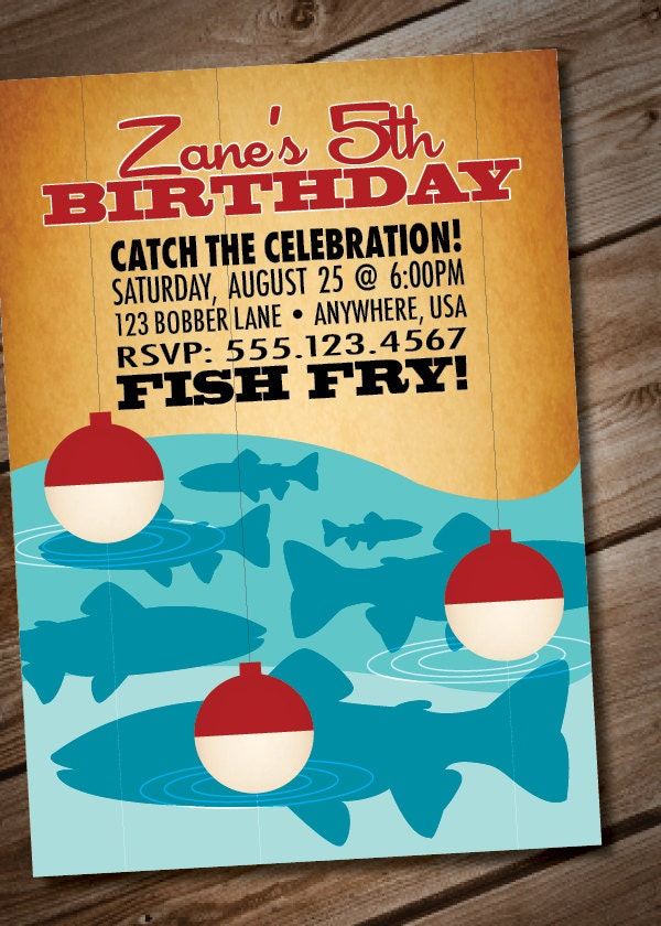 Diy printable retro fishing birthday party invitation for Fishing birthday invitations