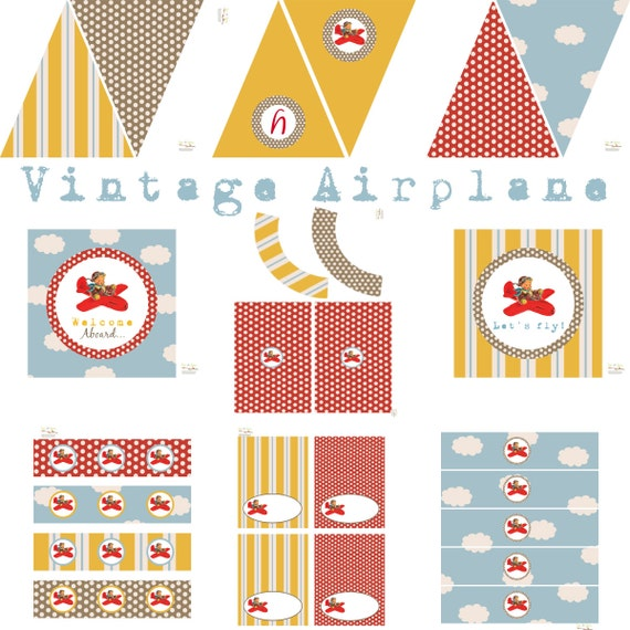 Vintage Airplane Party Printables Airplane Birthday Airplane: Vintage Airplane Birthday Party Airplane Baby Shower