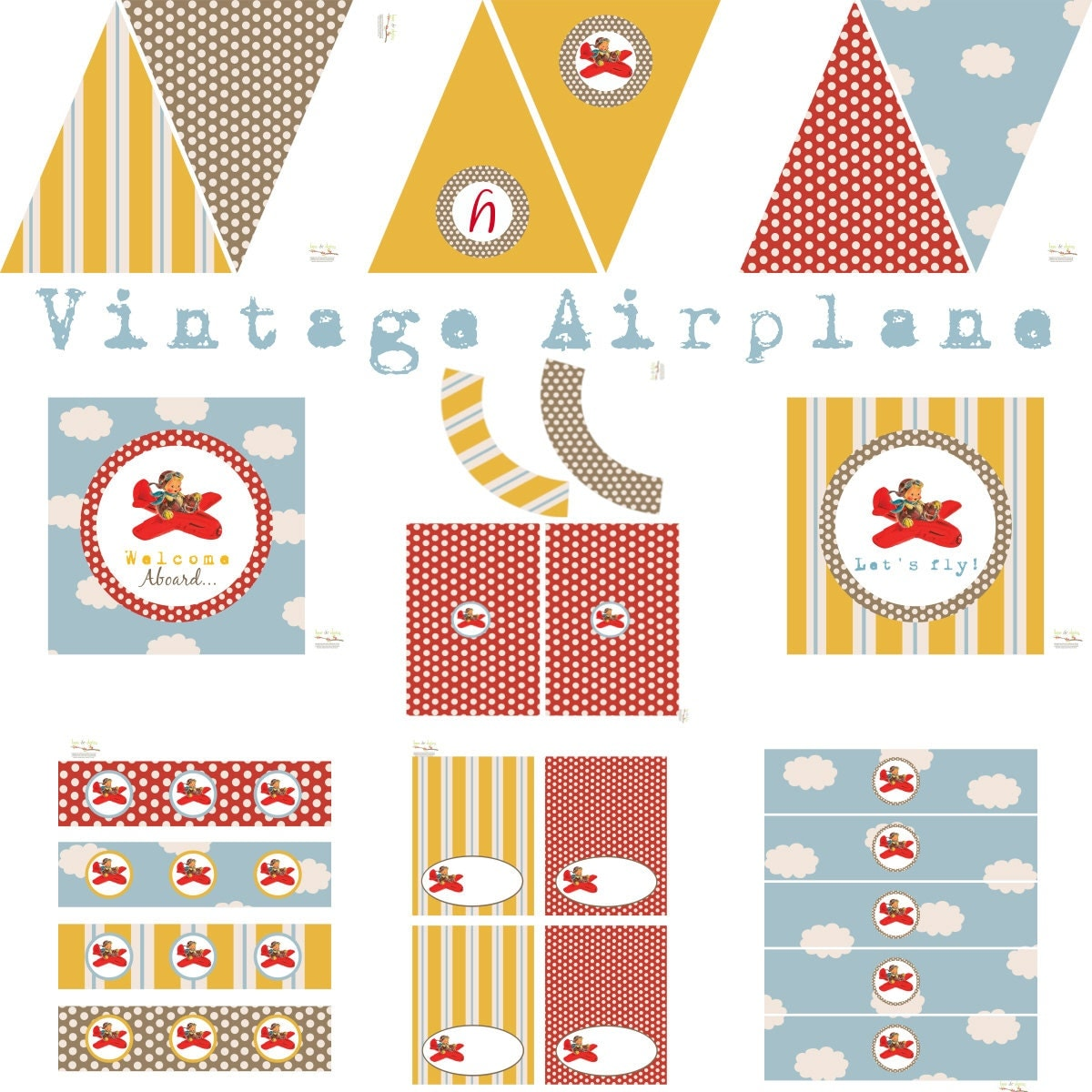 Printable Vintage Airplane Party Collection Diy By: Vintage Airplane Birthday Party Airplane Baby Shower
