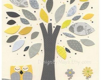 Nursery Art Decor, Kids Print, abc, baby owl nursery art, baby owl, gray, yellow, tree, baby boy room decor