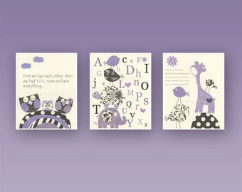 Baby Girl Room Decor Nursery wall Art prints Set of 3 prints Lavender Purple Black and White Giraffe Birds Turtle Owl First we had room art
