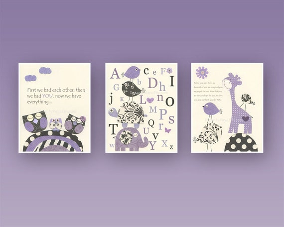Nursery Wall Decor Set : Baby girl room decor nursery wall art prints set of