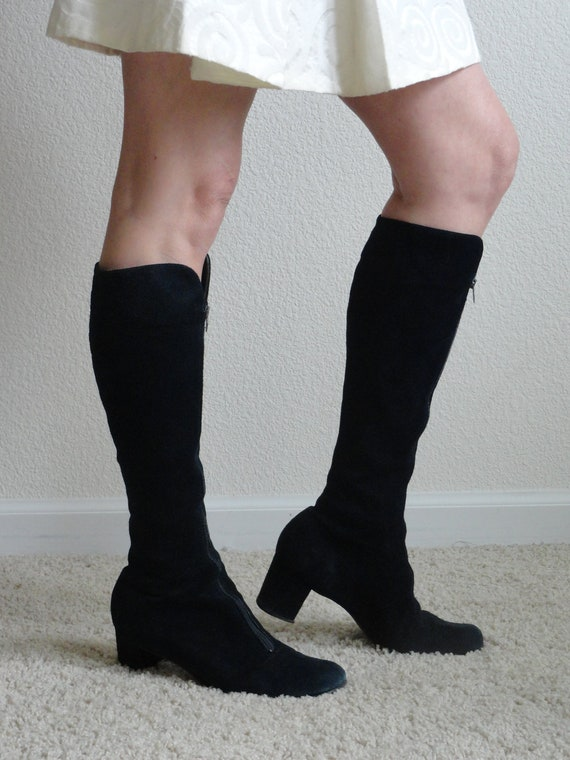 Vintage Black Suede Boots 1960s - Knee High - Front Zip -  US Womens Size 7.5
