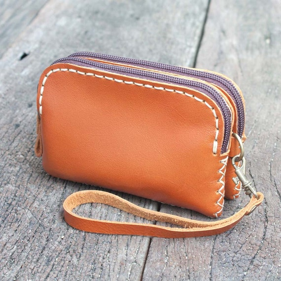 Zippered Leather Wristlet Pouch in Orange - L size